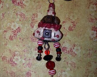 Whimsical Chocolate Labrador Dog Jewelry Key Chain Pendant Ooak Piece