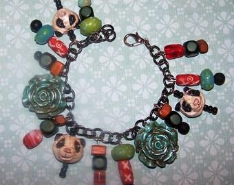 Handmade Whimsical Panda Bear Ocean Blue Charm Jewelry Bracelet Vintage Nostagic Charms Pandas