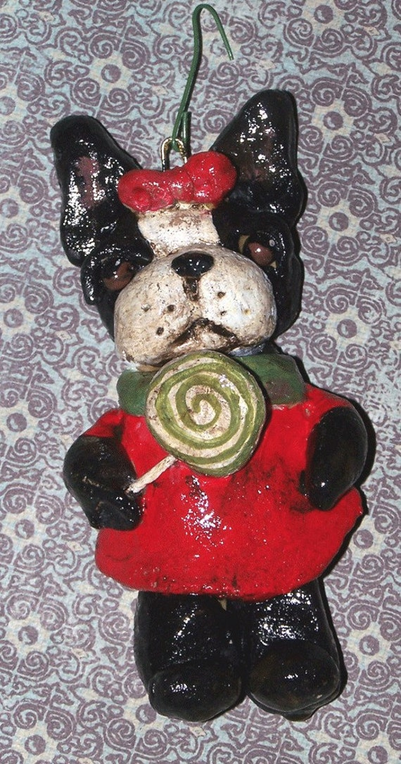 Folk Art Ornament Boston Terrier Candy Dog Doll OOak