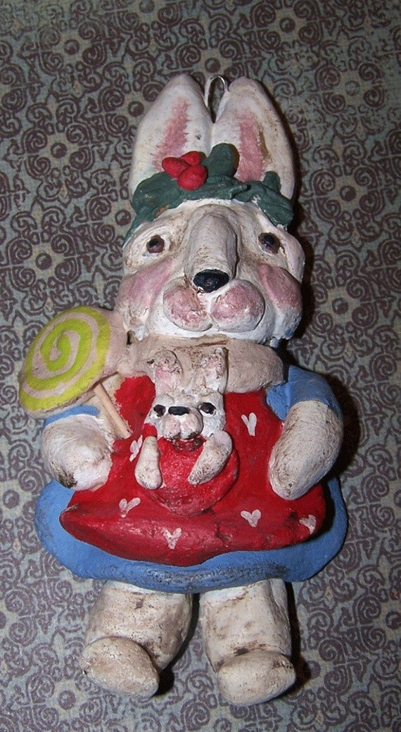 Folk Art Primitive Bunny Rabbit Ornament Ornie Holiday Girl