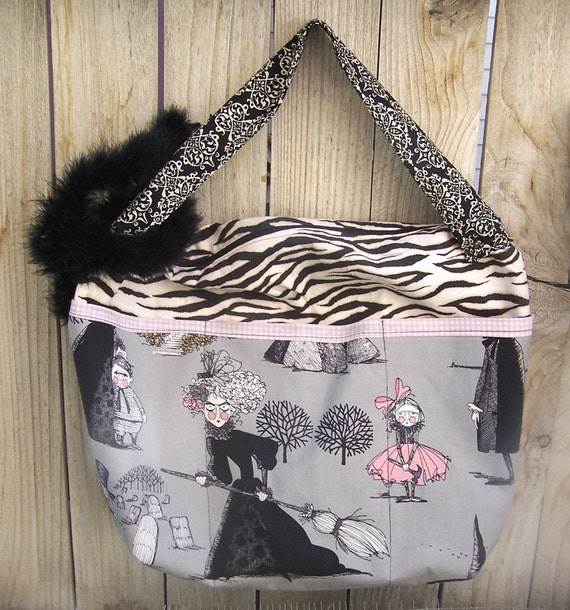 Halloween Bag Purse Tote Laptop Ghastlies Witches Fabric Tote