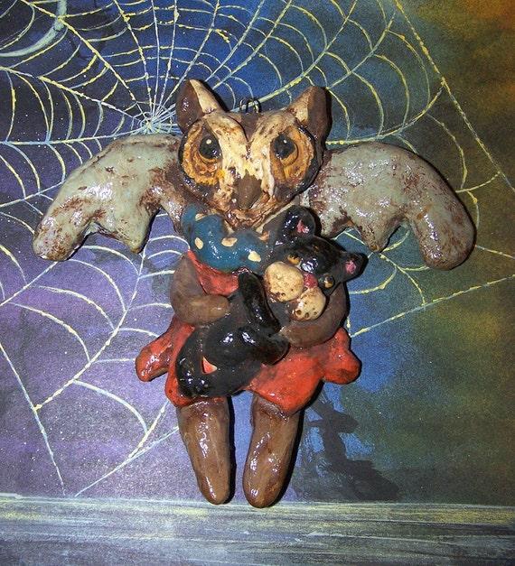 Folk Art Primitive Halloween Owl Black Cat Ornament Cookie Doll