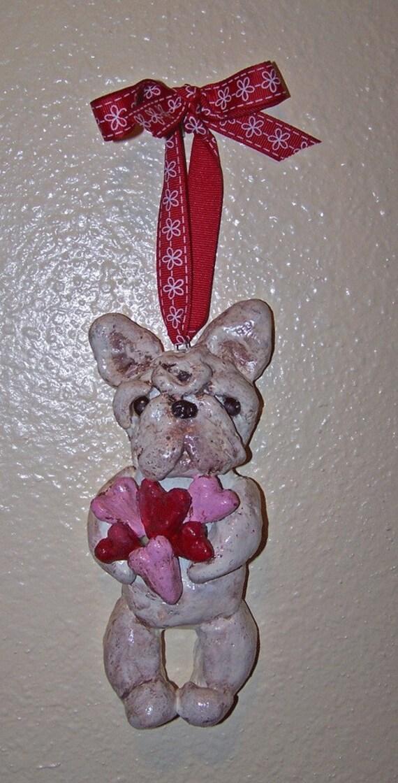 Folk Art French Bulldog Doll Heart Ornament