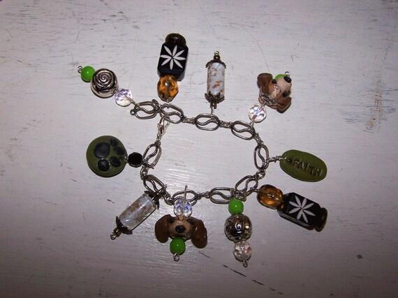 Boutique Beagle Charm Bead Jewelry Bracelet Ooak
