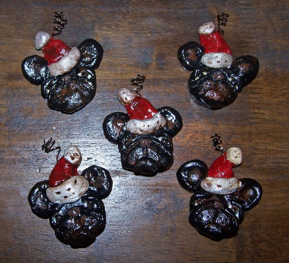 Folk Art Bakers Clay  Black French Bulldog Dog Frenchie Ornaments 5 Feather Tree Ornaments Miniatures
