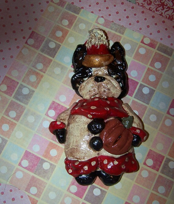 Vintage Folk Art Whimsical Boston Terrier Dog Party Ornament Decoration Clay
