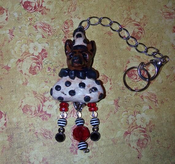 Folk Art German Shepherd Dog Pendant Keychain Ooak Boutique Jewelry
