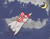 Rocket Art Print, Rocket Man 8 x 10 Print Cute Space Themed Nursery Art for Baby Boy or Boys Room