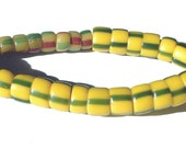 Yellow Green and Red Vintage African Trade Beads