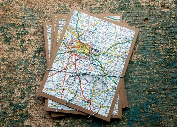 German Map Note Cards - Set of 6