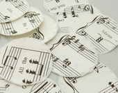 set of 10 scalloped sheet music stickers