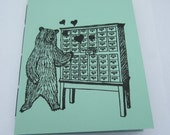 Librarian bear loves to read mini notebook