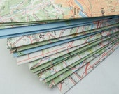 set of 12 recycled topographical map envelopes