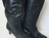 Vintage black leather slouch pirate 70s boot 15 DOLLAR SALE