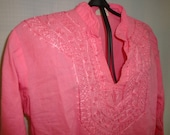 Vintage 70s Embroidered pink tunic top