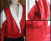 SPECIAL  Raging 80s red slouch batwing sleeve leather jacket