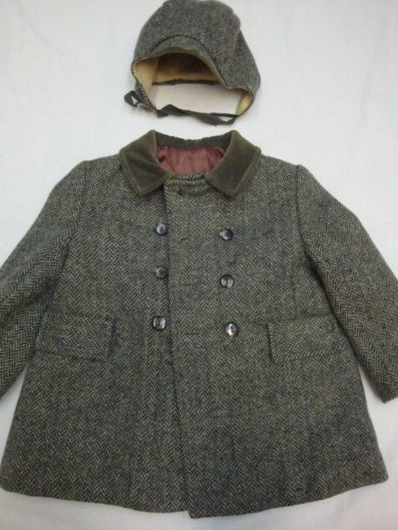Vintage 40s boys herringbone jacket and hat