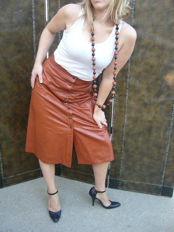 Vintage Burnt orange Button up Leather Skirt