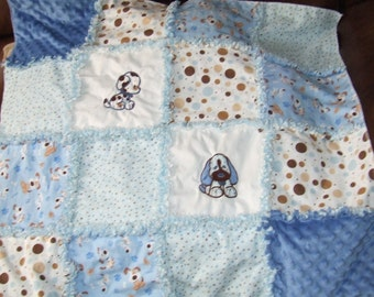 Custom Boutique Personalized  Shabby Blue Puppy Dog Baby  Rag Quilt  w/ Minky Backing Soooo Soft