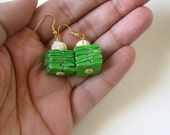 Super Green Eco Earrings - Made With Rescued Wrapping Paper