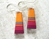 Thread Wrapped Bright Orange Tangerine and Fuchsia Flared Trapezoid Earrings With Turquoise Metallic Accent
