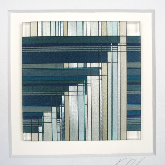 Thread Wrapped Framed Art Piece in Deep Sea Greens and Light Sage/Blue