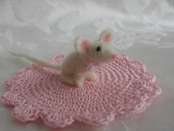 Needle Felted White Mouse on a Hand Crocheted Pink Rug-Waldorf inspired