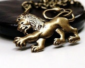 Lion charm Necklace Small antiqued brass