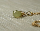 Tiny Small Korean Jade faceted Necklace teardrop Semi precious stone pendant on a delicate gold plated chain
