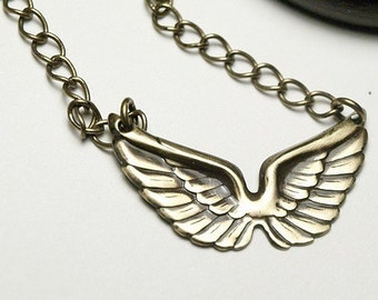 Antiqued brass Angel Wings Necklace, wings necklace, wing necklace, brass wings pendant, small angel wings necklace, angel wings pendant