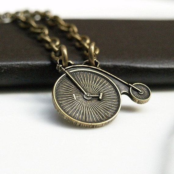 Tiny Penny farthing Bicycle Necklace