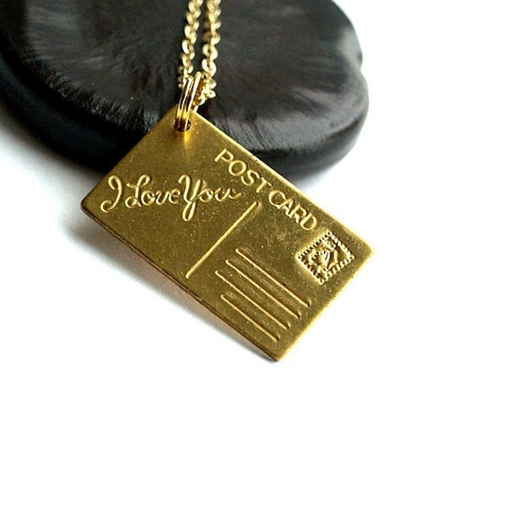 Small golden brass I Love You Postcard charm Necklace on a delicate gold plated chain