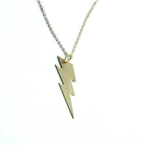 Lightning bolt necklace charm medium golden brass on a mozeypictures Choice Image