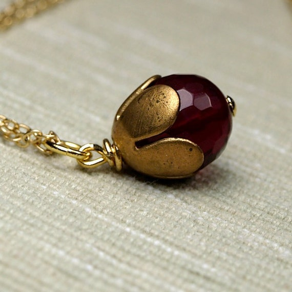 Vintage brass Tulip Bead cap with a dark faceted Red Burgundy Agate on a delicate gold plated chain