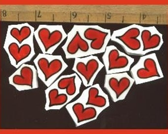 Mosaic Tile 100 HOT RED HEARTS hp HandPainted China Mosaic Tiles