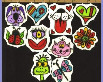 Mosaic Mosaics FUNNY SILLY STYLE hp Handpainted China Plate Tiles