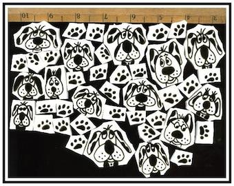 Mosaic Tiles crazy BLACK DOGS n PAWS mosaic Tile