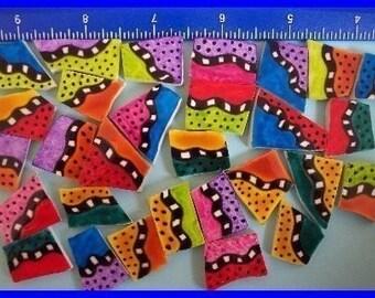 Mosaic Tiles BRIGHT FUNKY DOODLES black red orange yellow green pink purple blue Mosaic Tile