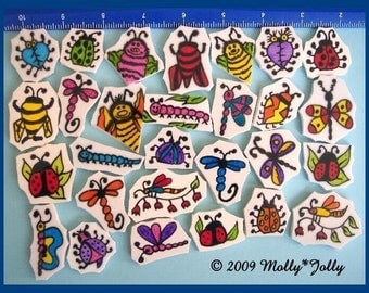 Mosaic Tile Hand Painted HP SILLY BUGS Tiles