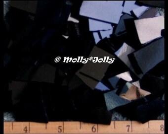 Mosaic Tiles SOLID BLACK Handcut Stained Glass Tiles 25 pcs Mosaic Tile