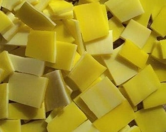 Mosaic Tile 50 LEMON Yellow Stained Glass Mosaic Tiles