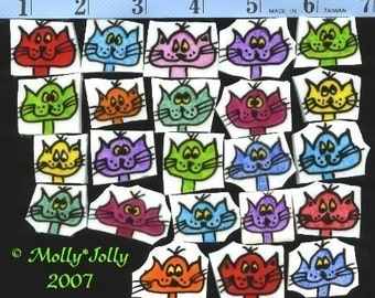 Mosaic Tiles COLORFUL CATS hp Handpainted Handcut China Mosaic Tile