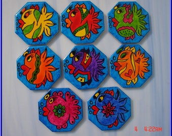 Mosaic Tiles Ceramic Handpainted FUNNY FISH Tile CUTE supplies Mosaic Tile