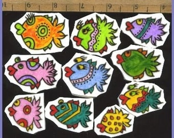 Mosaic Tiles AWESOME DOODLE FISH hp Handpainted China Plate Mosaic Tile