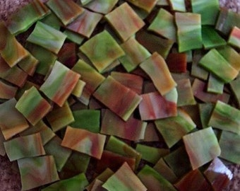 "Mosaic Tile 50 SALSA 1/2 - 1"" reds browns greens Handcut Stained Glass Mosaic Tiles"