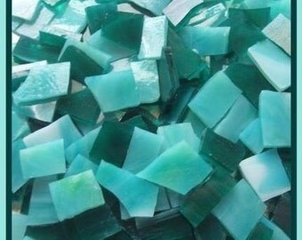 "Mosaic Tile SEA MIX LAGOON Handcut Stained Glass 50 pcs 1/2 - 1"" Mosaic Tiles"