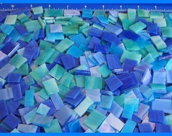 Mosaic Tile 500 BIRD BATH mixed BLUES Stained Glass Mosaic Tiles