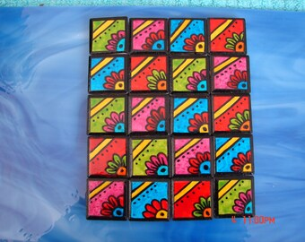 Mosaic Tiles FUN FLOWER DOODLE squares Hand painted Porcelain Mosaic Tile