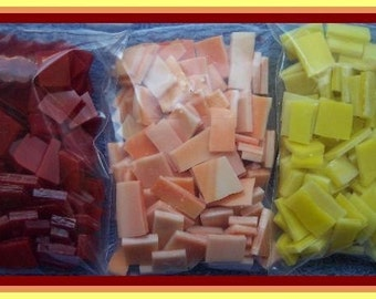 Mosaic Tiles 300 SALSA MIX red orange yellow Handcut Stained Glass 300 Mosaic Tile