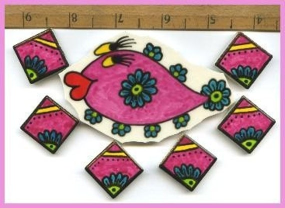 Mosaic Tiles One of a Kind SILLY FISH Set Hand painted China Mosaic Tile